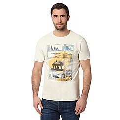 Mantaray - Big and tall off-white beach print t-shirt