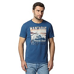 Mantaray - Big and tall blue newport beach print t-shirt