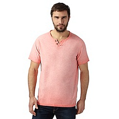 Mantaray - Big and tall pink oil wash notch t-shirt