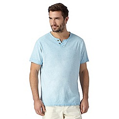 Mantaray - Big and tall light blue textured oil wash t-shirt