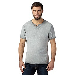 Mantaray - Light grey oil wash notch t-shirt