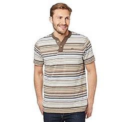 Mantaray - Natural striped notch neck t-shirt