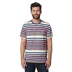 Mantaray - Big and tall red multi striped t-shirt