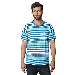 Mantaray - Big and tall turquoise multi striped t-shirt