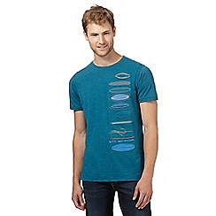 Mantaray - Dark turquoise stitched surfboard t-shirt