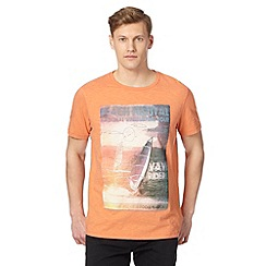 Mantaray - Big and tall orange festival beach print t-shirt