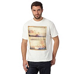 Mantaray - Big and tall off white 'Pray For Surf' t-shirt