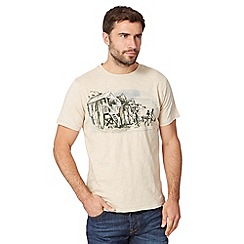 Mantaray - Big and tall natural sketched beach huts t-shirt