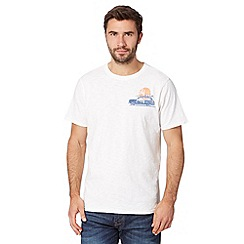 Mantaray - Big and tall off white reverse car and surfboard print t-shirt