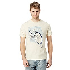 Mantaray - Big and tall light yellow bicycle script t-shirt