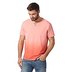 Mantaray - Big and tall pink dip dye button neck t-shirt