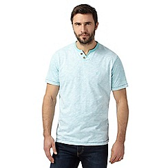 Mantaray - Light turquoise logo embroidered notch t-shirt