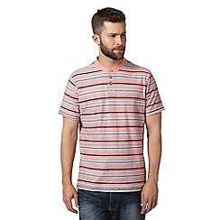 Mantaray - Pink variegated stripe button neck t-shirt