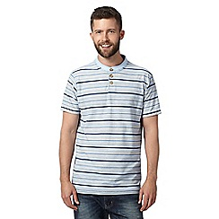 Mantaray - Light blue striped notch t-shirt