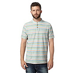 Mantaray - Big and tall light green striped notch t-shirt