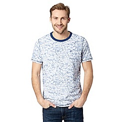 Mantaray - Blue reverse floral print t-shirt