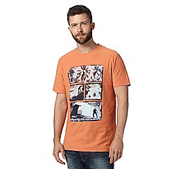 Mantaray - Big and tall light orange vintage beach crew neck t-shirt