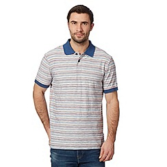 Mantaray - Big and tall blue reverse striped polo shirt