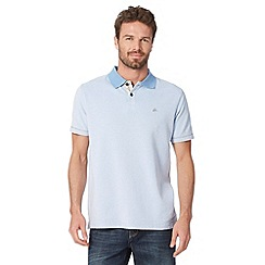 Mantaray - Big and tall light blue textured embroidered logo polo shirt