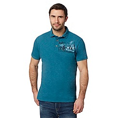 Mantaray - Turquoise print chest polo shirt