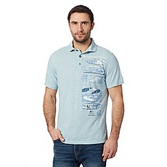 Mantaray - Big and tall light blue applique surfboard polo shirt
