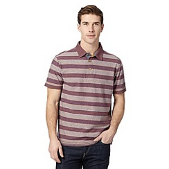 Mantaray - Big and tall purple block striped polo shirt