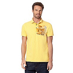 Mantaray - Yellow beach hut print polo shirt
