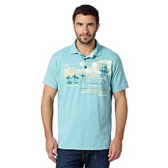 Mantaray - Light turquoise surf print polo shirt