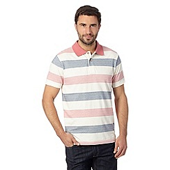 Mantaray - Big and tall pink herringbone striped polo shirt