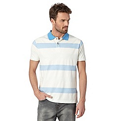 Mantaray - Blue textured bold striped polo shirt