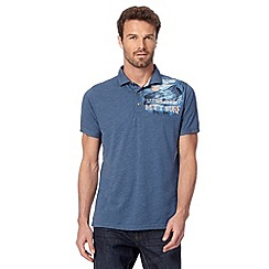 Mantaray - Blue 'Let There Be Surf' polo shirt