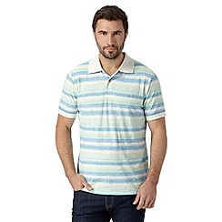 Mantaray - Big and tall light green pastel striped polo shirt