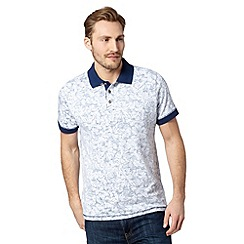 Mantaray - Blue reverse floral print polo shirt