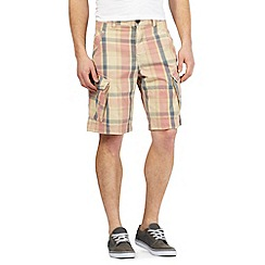 Mantaray - Big and tall pink check print cargo shorts