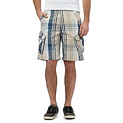 Mantaray - Big and tall beige check print cargo shorts