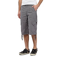 Mantaray - Big and tall grey check print three quarter length cargo shorts