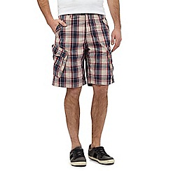 Mantaray - Big and tall navy checked cargo shorts