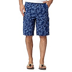 Mantaray - Big and tall blue floral print cargo shorts