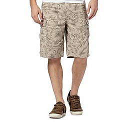 Mantaray - Big and tall natural palm print cargo shorts