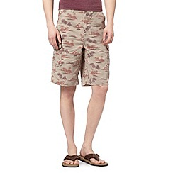 Mantaray - Big and tall tan island print cargo shorts