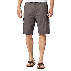 Mantaray - Big and tall dark grey poplin cargo shorts