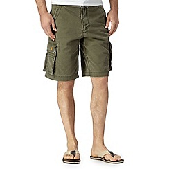 Mantaray - Big and tall khaki belted cargo shorts