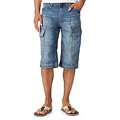 Mantaray - Blue denim three quarter length cargo shorts