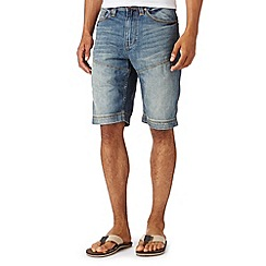 Mantaray - Blue vintage wash denim chino shorts