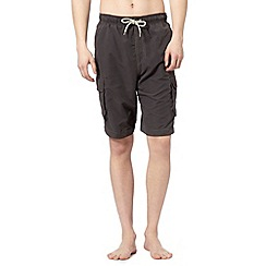 Mantaray - Dark grey plain cargo swim shorts