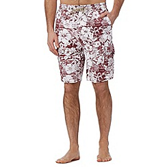 Mantaray - Big and tall dark red floral cargo swim shorts