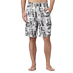 Mantaray - Grey surf print cargo swim shorts