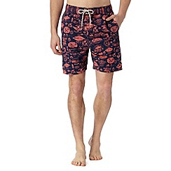 Mantaray - Big and tall navy badge print swim shorts