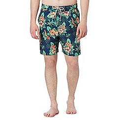 Mantaray - Big and tall navy parrot print swim shorts