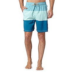 Mantaray - Blue colour block lined swim shorts